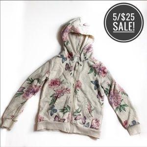 H&M Tan / Pink Floral ZIPup Hoodie Girls Size 4-6